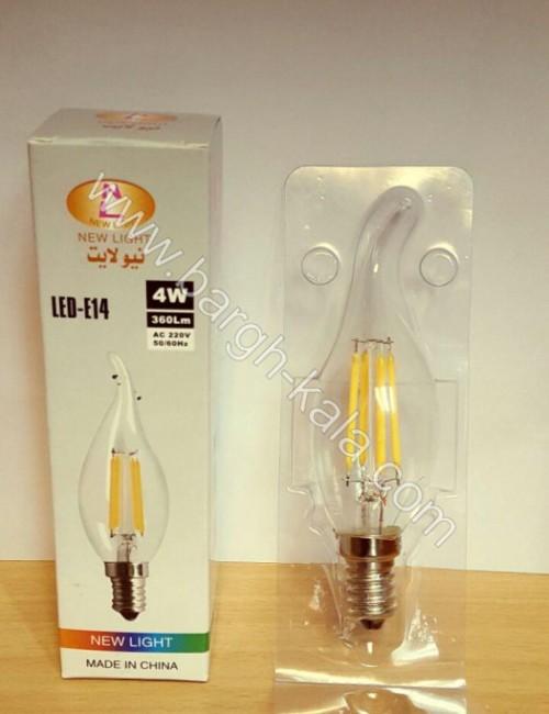 لامپ کم مصرف شمعی - اشکی ۴ وات فیلامینتی