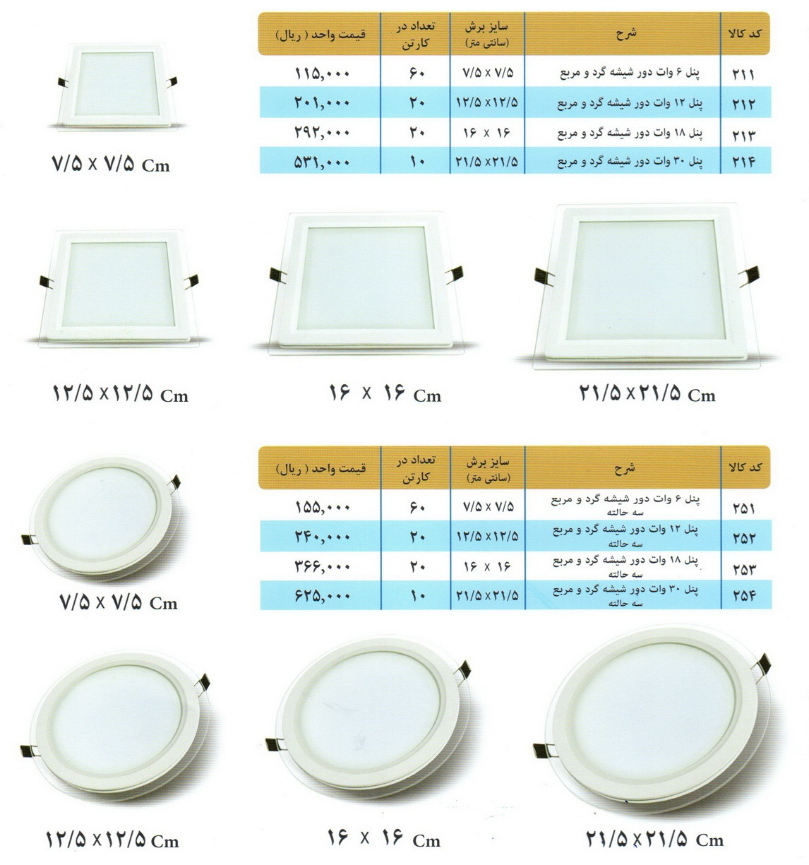 لیست قیمت پنل دور شیشه گرد و مربع